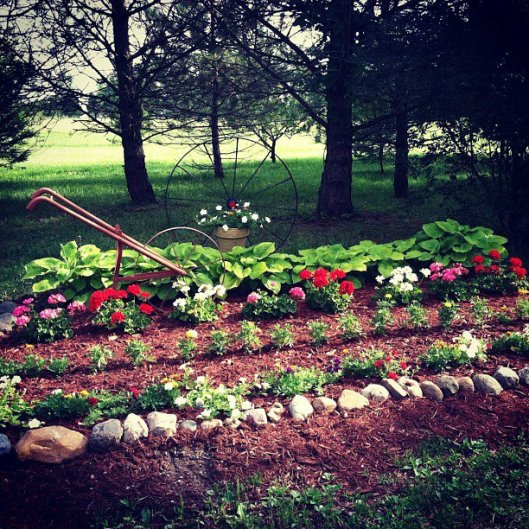 This is just the flower bed. Her vegetable garden is a sight to behold. Photos will come later this summer.