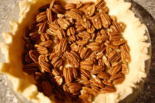 I got a big bag of pecans and ended up snacking on them as I was lining the pie plate.